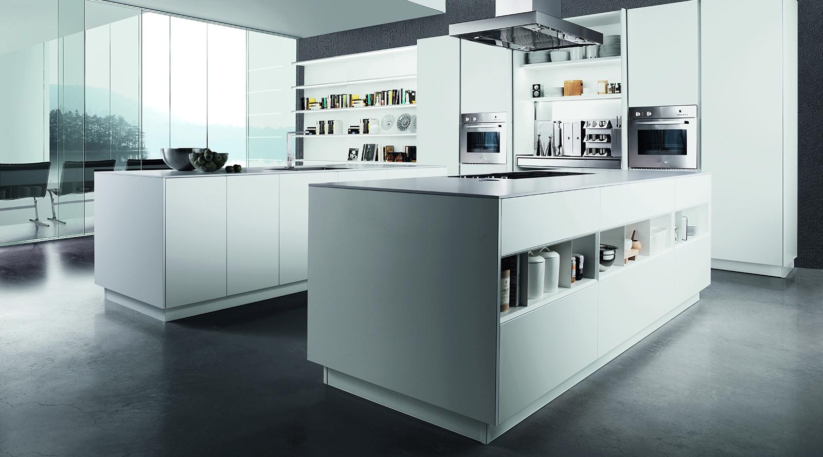 Zona de columnas cocinas de diseño blanco